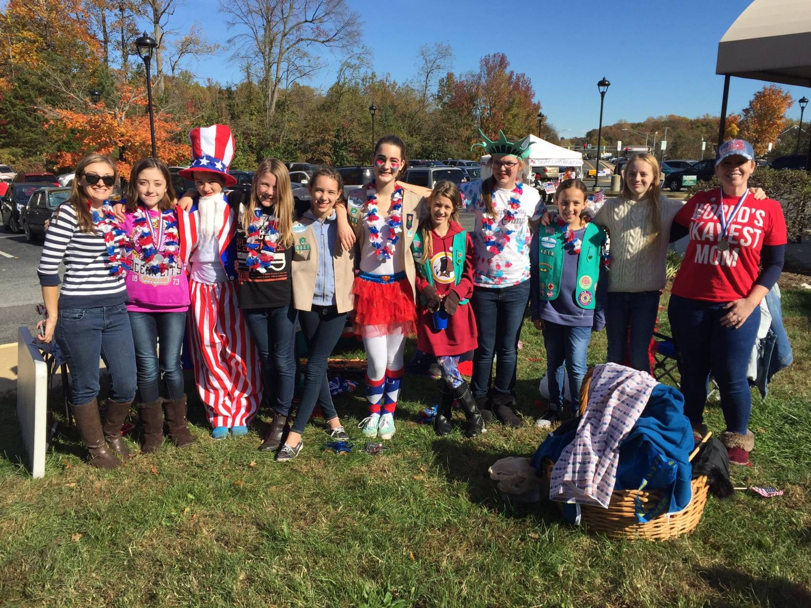 Girl Scouts sell sweet treats outside the polling place in Calvert County, Md. (WTOP/Michelle Basch)