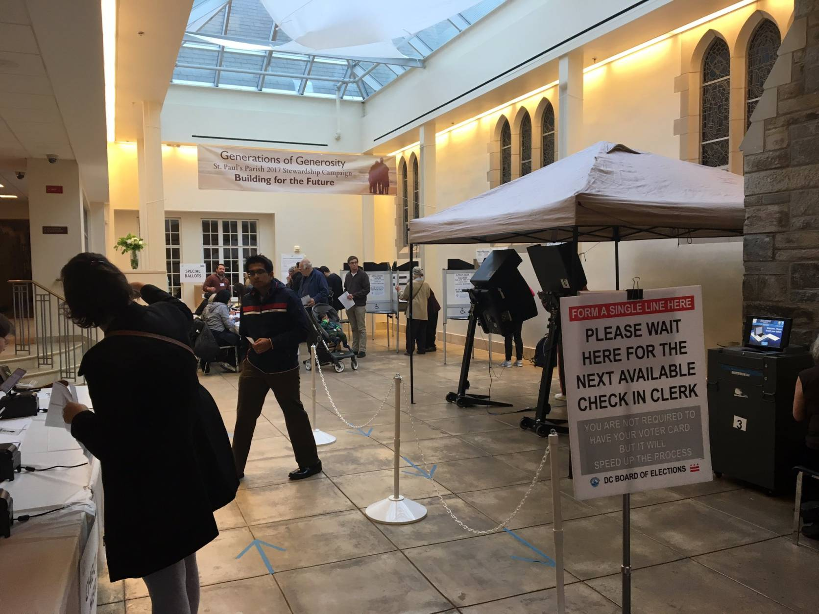 Voters say there are no lines at St. Paul's Parish on K Street NW as of 4:20 p.m. (Courtesy Jordan Connell via Twitter)