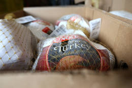 RICHMOND, CA - NOVEMBER 19:  Donated turkeys sit in a box at the Bay Area Rescue Mission on November 19, 2012 in Richmond, California. Days ahead of Thanksgiving, the Bay Area Rescue Mission received a donation of 320 turkeys and 60 hams from local business Bay Alarm that will be used to feed a holiday meal to needy and underpriviledged people.  (Photo by Justin Sullivan/Getty Images)