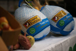 SAN FRANCISCO, CA - NOVEMBER 13:  Two donated Foster Farms turkeys are displayed on a table at the SF-Marin Food Bank on November 13, 2015 in San Francisco, California. Foster Farms donated 640 Thanksgiving turkeys to the SF-Marin Food Bank ahead of the Thanksgiving holiday.  (Photo by Justin Sullivan/Getty Images)