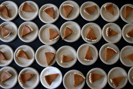 RICHMOND, CA - NOVEMBER 25:  Slices of pumpkin pie sit on a table during the Great Thanksgiving Banquet hosted by the Bay Area Rescue Mission on November 25, 2015 in Richmond, California. Hundreds of homeless and needy people were given a free meal a day before Thanksgiving.  (Photo by Justin Sullivan/Getty Images)