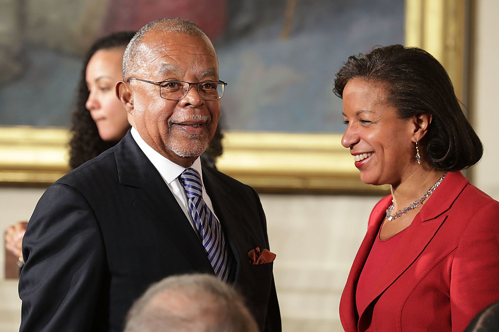 Henry Louis Gates, Jr.,  Alphonse Fletcher University Professor and Director of the Hutchins Center for African and African American Research at Harvard University, and White House National Security Advisor Susan Rice visit during the Presidential Medal of Freedom  ceremony in the East Room of the White House November 22, 2016 in Washington, DC. U.S. President Barack Obama presented the medal to 19 living and two posthumous pioneers in science, sports, public service, human rights, politics and the arts.  (Photo by Chip Somodevilla/Getty Images)