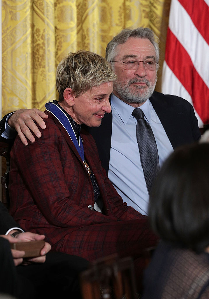 Actor Robert De Niro and comedian and talk show host Ellen DeGeneres share a moment during a Presidential Medal of Freedom presentation ceremony at the White House November 22, 2016 in Washington, DC. The Presidential Medal of Freedom is the highest honor for civilians in the United States of America.  (Photo by Alex Wong/Getty Images)