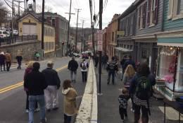 Photo of shoppers on Main Street, Ellicott City