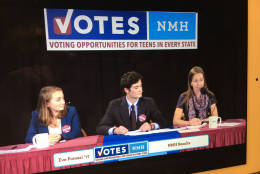 Here's a photos of the live-stream event of VOTES 2016 students at the Northfield Mount Hermon School announcing mock election results Sunday night. (WTOP/Kate Ryan)