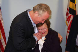 Sen.-elect Chris Van Hollen hugs Sen. Barbara Mikulski on Wednesday, Nov. 9, 2016 in Baltimore, Md. Van Hollen, a Democrat, won the seat that will be opening when Mikulski retires after 30 years in the office. (AP Photo/Brian Witte)