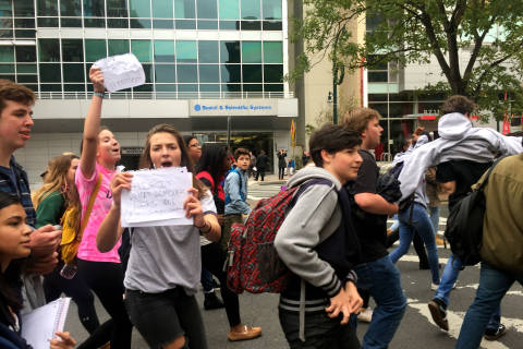 Photos: Md. high school students leave class to protest Trump