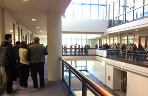 Photo of line at polling center in Fairfax Co. Virginia