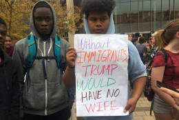 Montgomery County high school students say their protest of President-elect Donald Trump will continue. Hundreds of them walked out of class on Nov. 14, 2016 and marched through the streets of Silver Spring, Md., in peaceful protest. (WTOP/Dick Uliano)