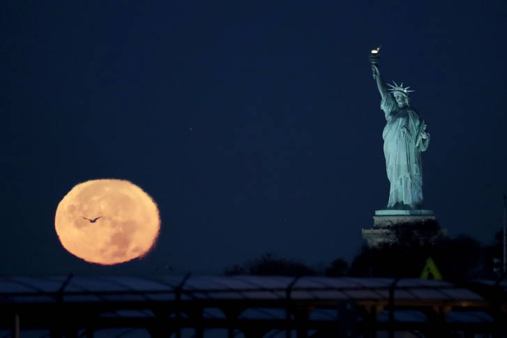 Supermoon lights up night sky