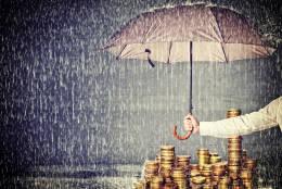 umbrella protect euro coin from rain