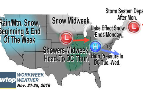 Workweek weather: Chilly, some showers may visit on Thanksgiving