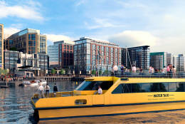 An artist's rendering depicts new water taxi boats being built for the Regional Water Taxi System. When District Wharf opens in October 2017, two of four new boats on order will complement an existing fleet of 13 taxi boats. (Courtesy The Wharf)