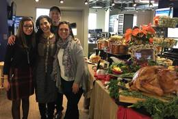 The Amphora Catering team (from left Marketing Assistant Francesca Doimo, Director Angela Cholakis, Chef Brian Baer and WTOP morning drive host Joan Jones. (Courtesy of Angela Cholakis)
