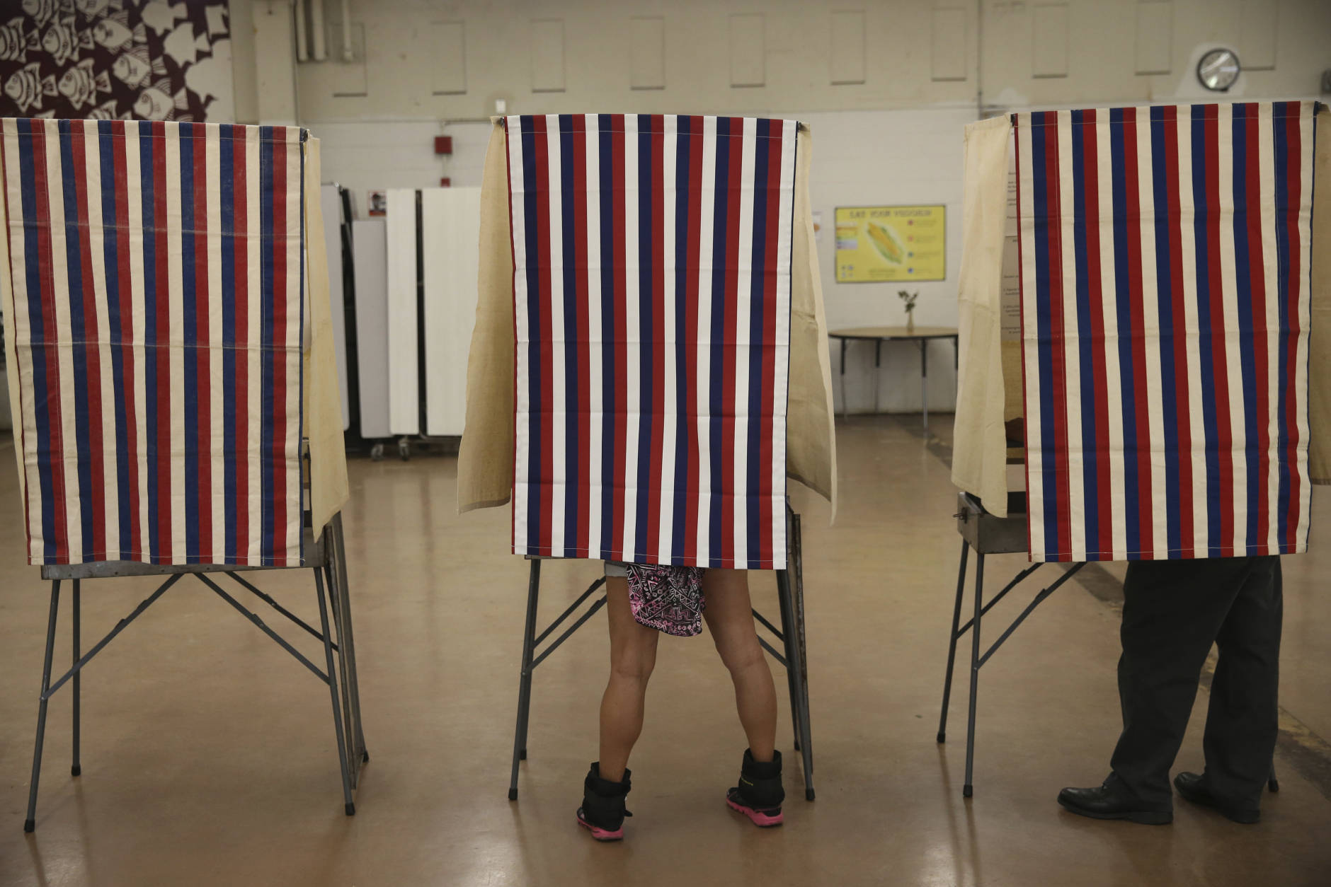 Voters cast their ballots in booths at Farrington High School, Tuesday, Nov. 8, 2016, in Honolulu. (AP Photo/Marco Garcia)