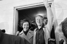 Democratic presidential candidate Jimmy Carter and his wife Rosalynn depart the Plains, Ga.,  polling place, Nov. 2, 1976.  The candidate was the fifth person to vote in his precinct. The former governor will spend the day resting up for an evening in Atlanta where he will watch the returns. (AP Photo)
