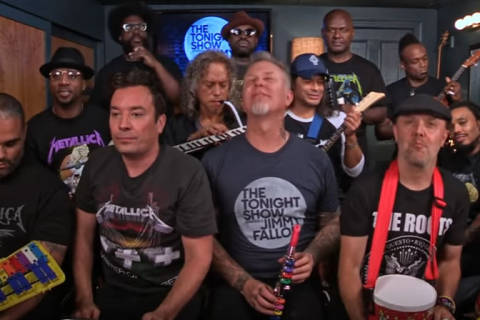 Jimmy Fallon, The Roots, Metallica rock 'Enter Sandman' on toy instruments (Video)