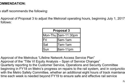 Metro to be open until 1 a.m. on weekends under staff proposal