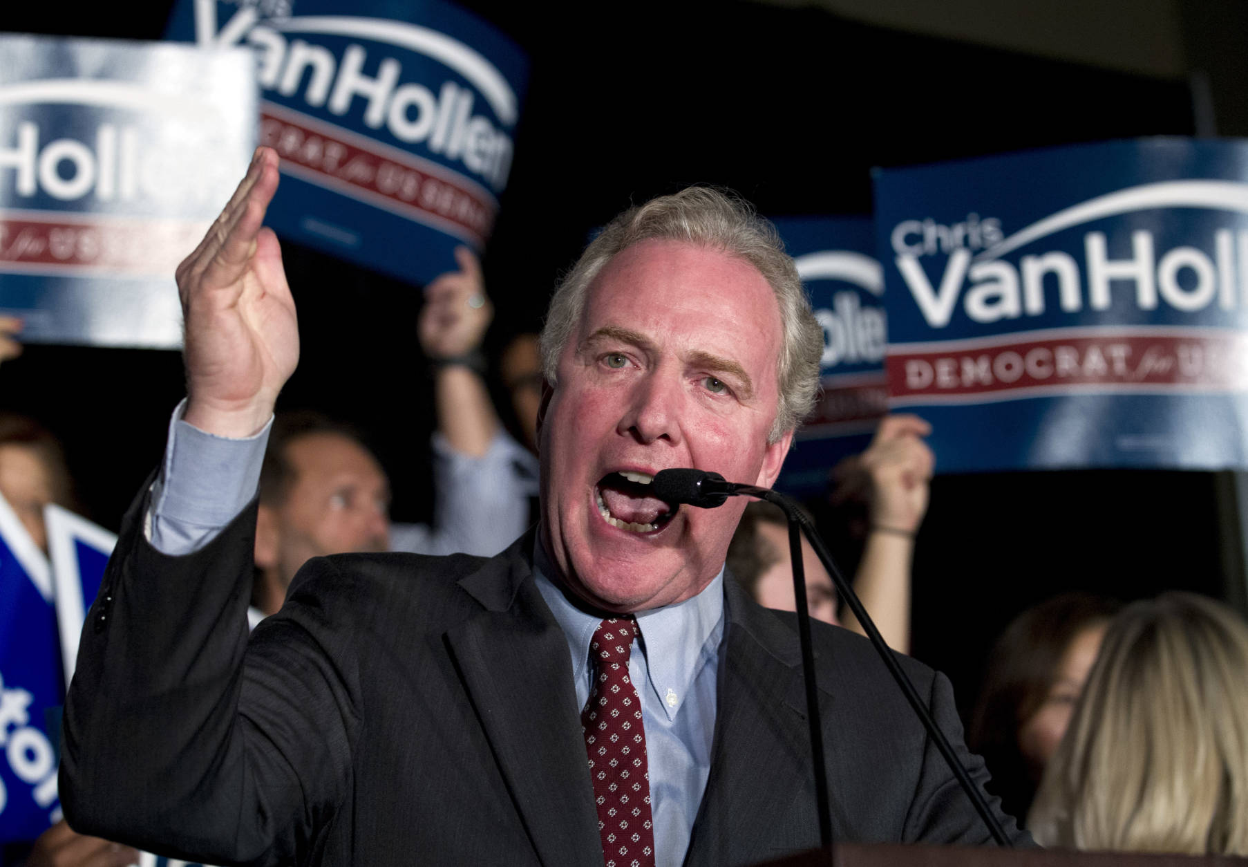 Sen.-elect Chris Van Hollen, D-Md. speaks to supporters after his victory in Maryland, Tuesday, Nov. 8, 2016, during the election night party at Tommy Douglas Conference Center in Silver Spring, Md. ( AP Photo/Jose Luis Magana)
