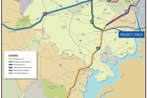 Extension of I-395 toll lanes to Pentagon on track