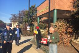 Voters get ready to cast ballots outside Gunston Middle School in Arlington, Virginia, Nov. 8, 2016. (Courtesy Adisa Hargett-Robinson)