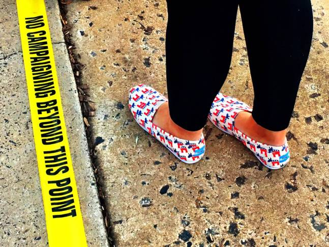 This Tape Those Shoes Electionday Sightings Waiting In Line Alexandriava To Vote Voteforamerica Tweet By Maureen Krebs