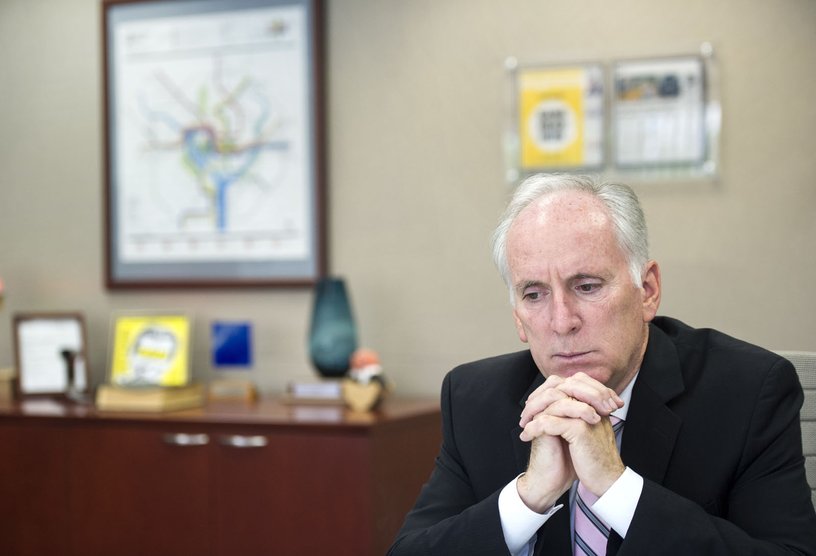 Washington Metropolitan Area Transit Authority (Metro) General Manager and Chief Executive Officer Paul Wiedefeld is seen in his office in Washington, Thursday, July 7, 2016. (AP Photo/Cliff Owen)