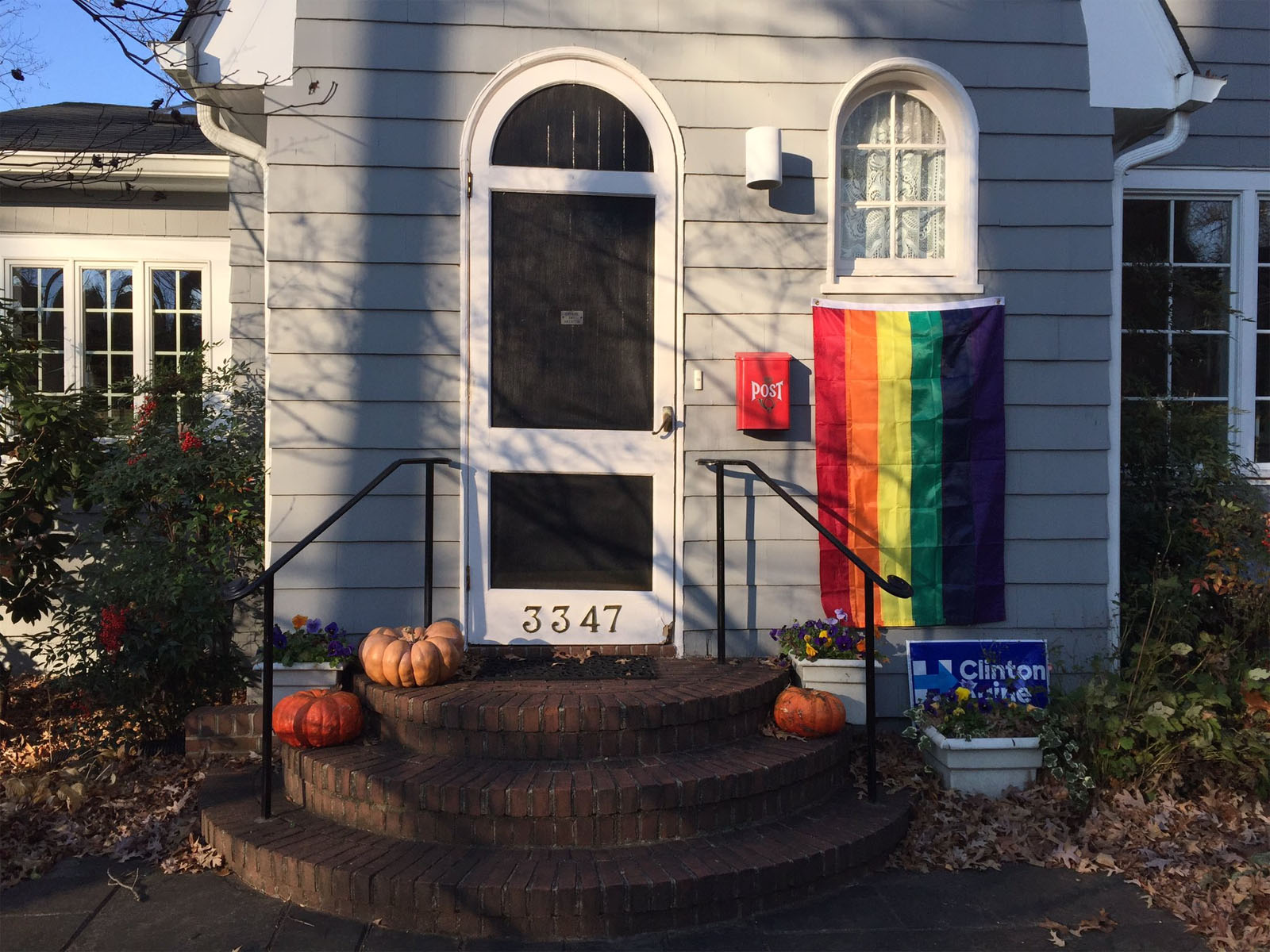 "Some who live near Mike Pence's temporary D.C. home have put out rainbow flags in ""silent protest."" (WTOP/Michelle Basch)"