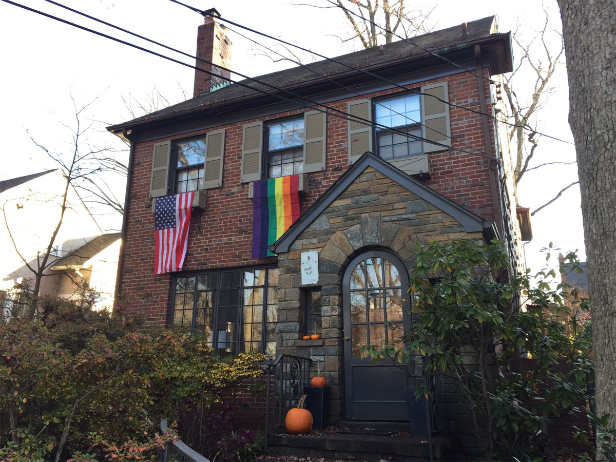 Joanna Pratt's family put a rainbow flag out last weekend and ordered more for some neighbors near where Mike Pence is staying in Northwest D.C. (WTOP/Michelle Basch)