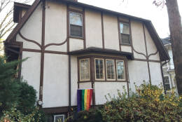 As of Friday, there were at lest nine rainbow flags flying at houses near Pence's temporary home. (WTOP/Michelle Basch)