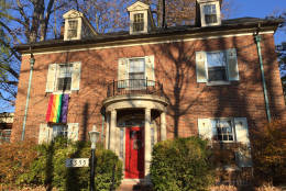 As of Friday, there were at least nine rainbow flags flying at houses near Pence's temporary home. (WTOP/Michelle Basch)