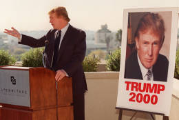 New York billionaire real estate tycoon Donald Trump made an appearance for the media atop a Beverly Hills, Calif., hotel  Monday, Dec. 6, 1999. The potential Reform Party presidential candidate is in the Southern California area to address party leaders and to test the political waters.  (AP Photo/Chris Pizzello)