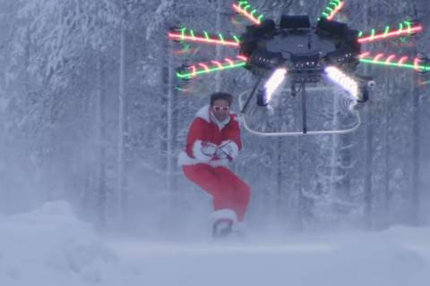 Forget Rudolph — snowboarding 'Santa' takes flight with drone