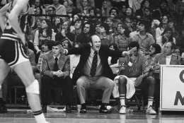 "University of Maryland head basketball coach Charles ""Lefty"" Driesell shouts encouragement to his team as they clash with Duke University at College Park, Md., Feb. 2, 1974. (AP Photo/William Smith)"
