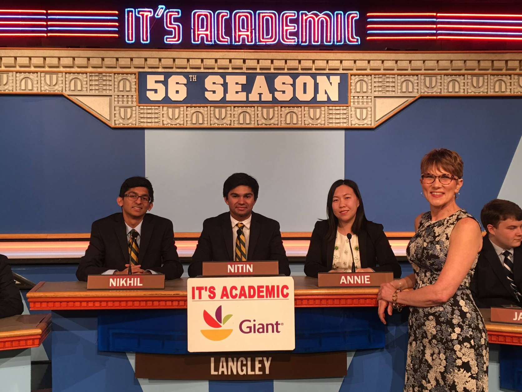 "On ""It's Academic,"" Langley High School won against DeMatha and Watkins Mill. The show aired April 1, 2017. (Courtesy Facebook/It's Academic)"
