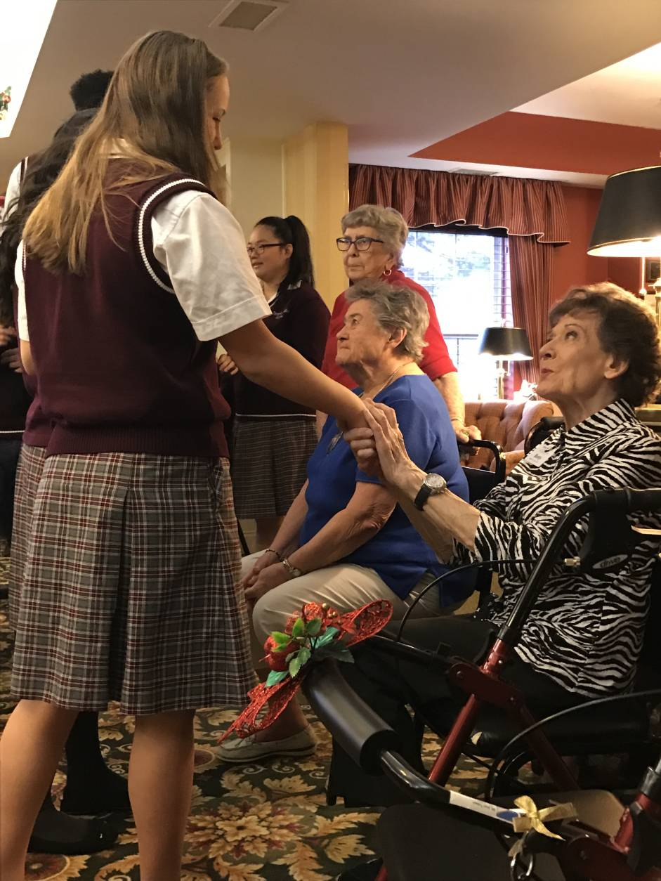 Students of Temple Baptist School visit a senior care facility in Herndon. (Courtesy Sam Dalton)