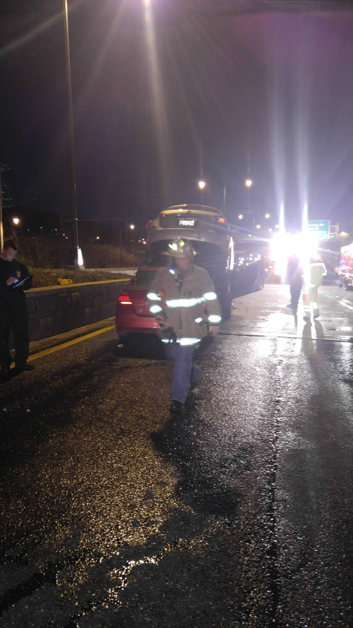 Ten people were transported to hospitals after a multivehicle crash on southbound D.C. 295 early Thursday morning. (Courtesy Tyrone Skeen/DDOT)