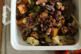 This September 28, 2015 photo shows veggie oven hash in Concord, NH. (AP Photo/Matthew Mead)This This Sept. 28, 2015, photo shows veggie oven hash in Concord, N.H. This recipe relies on a mix of roasted vegetables for a caramelized sweetness that feels roasty and homey. (AP Photo/Matthew Mead)