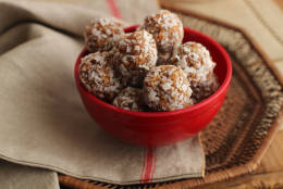 This Sept. 11, 2015 photo shows dirty coconut snowballs in Concord, N.H. These cookies are from a recipe by Alison Ladman. (AP Photo/Matthew Mead)