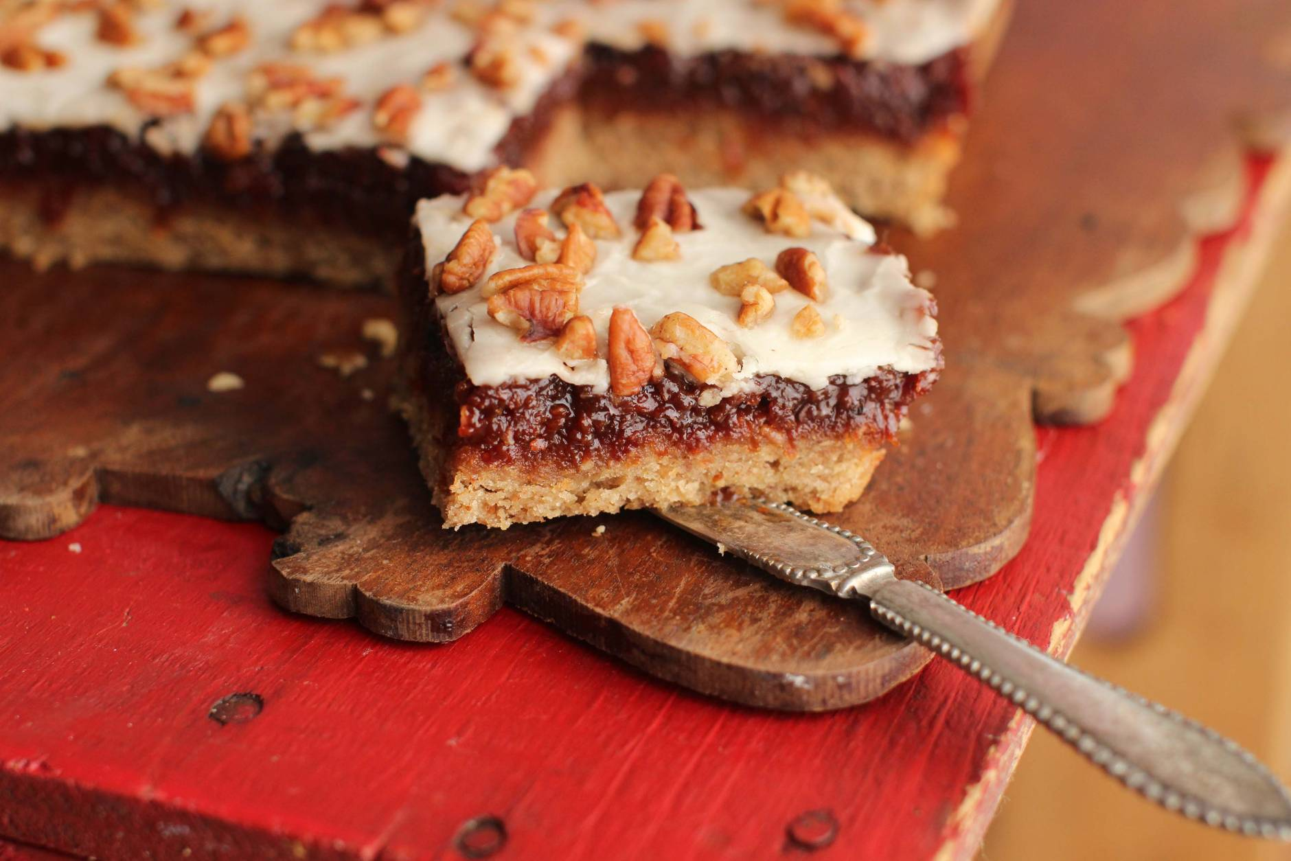 This Sept. 11, 2015 photo shows bourbon cherry bars in Concord, N.H. These cookies are from a recipe by Alison Ladman. (AP Photo/Matthew Mead)