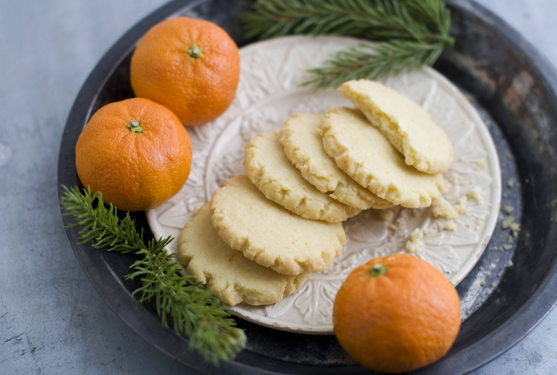 In this image taken on Monday, Nov. 5, 2012, tangerine mace shortbread cookies are shown served on a plate in Concord, N.H. (AP Photo/Matthew Mead)