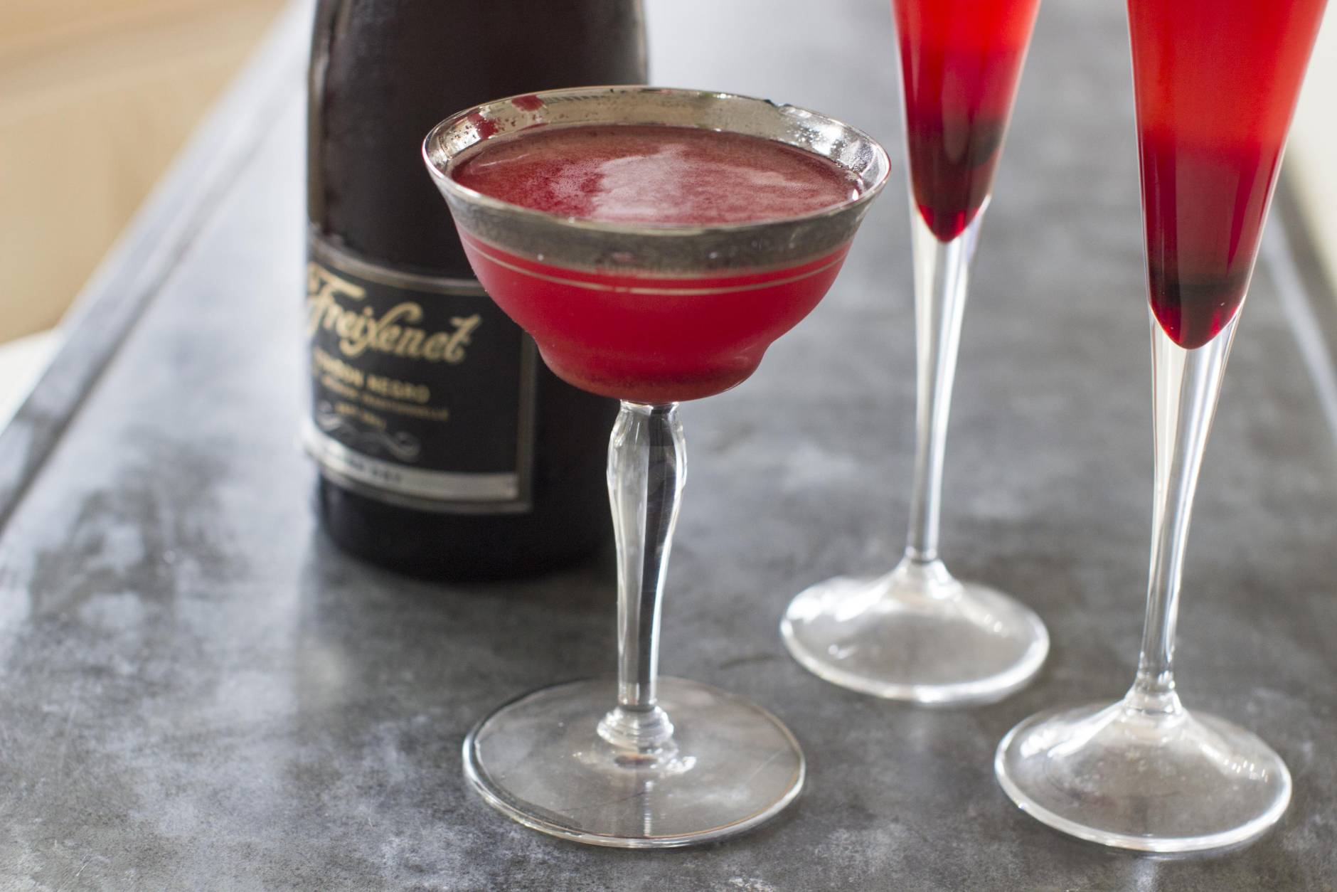 This Nov. 10, 2014 photo shows a ruby spiced bubbles cocktail in Concord, N.H. The ruby spice bubbles offers a fresh and refreshing way to enjoy sparkling wine. (AP Photo/Matthew Mead)