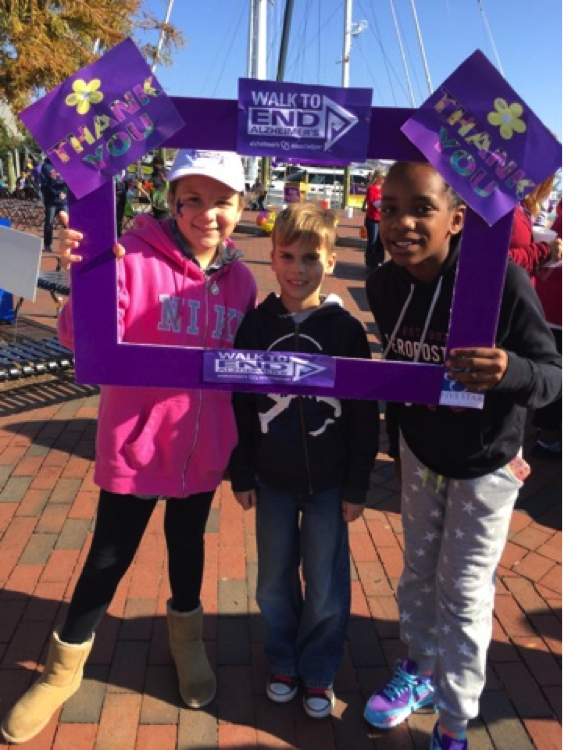 "Anjeleice Davidson along with Layna Rush and Mason Szczeszek. The children all volunteered and walked at the ""THE WALK TO END ALZHEIMER's"" here in Annapolis Maryland. 5K (Courtesy Fatimallah Westdavidson)"