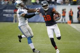 Chicago Bears wide receiver Eddie Royal (19) runs against Detroit Lions free safety Glover Quin (27) after receiving a pass during the second half of an NFL football game, Sunday, Oct. 2, 2016, in Chicago. (AP Photo/Nam Y. Huh)