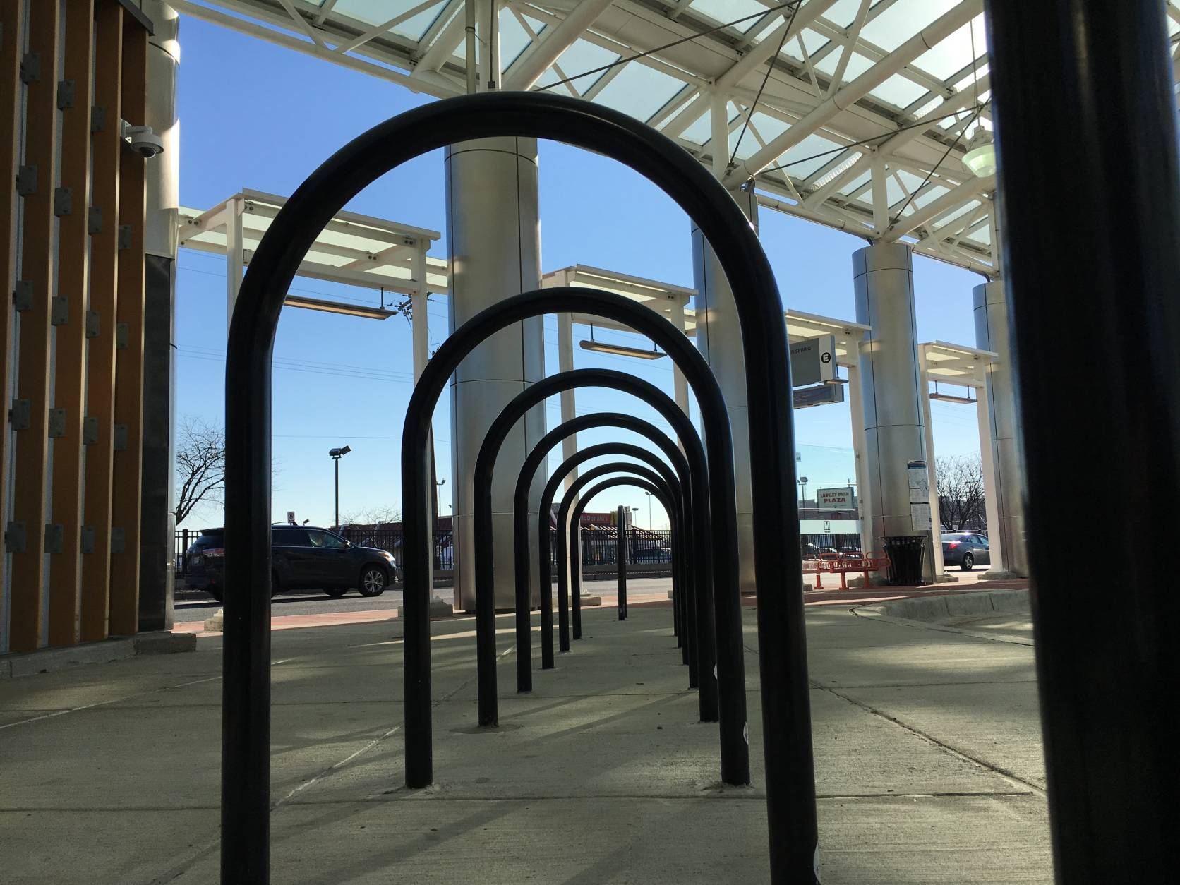 Bike racks are among the features at the new transit center. (WTOP/Kate Ryan)