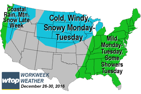 Workweek weather: Post-Christmas weather warms up, then cools