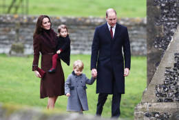 Britain's Prince William and Kate, the Duchess of Cambridge with their children Prince George and Princess Charlotte arrive to attend the morning Christmas Day service at St Mark's Church in Englefield, England, Sunday Dec. 25, 2016. A heavy cold is keeping Queen Elizabeth II from attending the traditional Christmas morning church service near her Sandringham estate in rural Norfolk, England. (Andrew Matthews/Pool via AP)