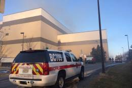 Montgomery County firefighters remain on scene at the Resource Recovery Facility at 21204 Martinsburg Road in Maryland. (Courtesy Pete Piringer)