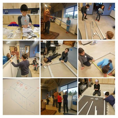Fourth, fifth graders at Inventions Academy working on building a server-sized food computer. (Courtesy Juliana Heitz)