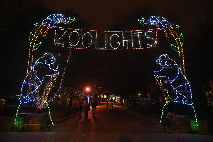 WASHINGTON, DC - DECEMBER 02: The Smithsonian National Zoological Park's  entrance is decorated with holiday lights during the ZooLights. - Dates For National Zoo's ZooLights Display Announced WTOP